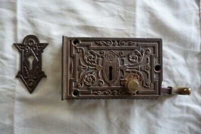 Original Antique Cast Iron Door Lock And Escutcheon