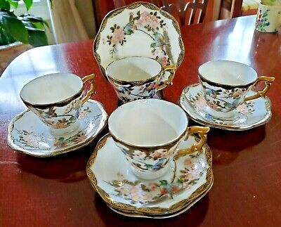 4 JAPANESE PORCELAIN DEMI CUPS and 5 SAUCERS BIRDS LOTS OF GOLD