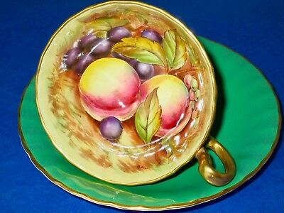 Aynsley Orchard Fruit Hand Painted Apple Green Rich Gold Cup & Saucer Signed