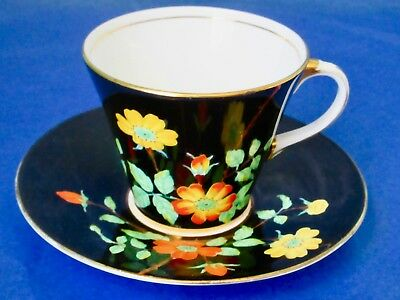 Aynsley Hand Painted Colorful Wild Roses Black Cup & Saucer 1930s