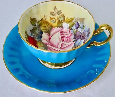 Aynsley J. A. Bailey Turquoise Large Pink Rose Hand Painted Cup & Saucer