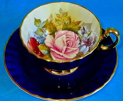 Aynsley J.A. Bailey Flowers EXQUISITE Hand Painted Cobalt Blue Gold Cup & Saucer