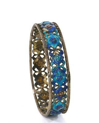 Old Chinese Sterling Silver Enamel Reticulated Geometric Floral Bracelet Bangle