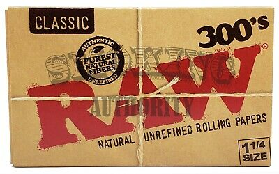"""Raw Classic 300's Natural 1 1/4"""" Cigarette Rolling Papers 300 Leaves Per Pack✔️"""