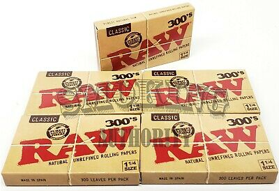 """Raw Classic 300's Natural 1 1/4"""" Cigarette Rolling Papers - 5 Pack✔️"""