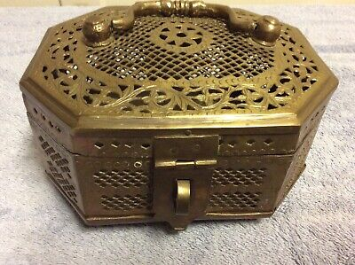 Vintage Brass Large Cricket Box w/ Handle, Footed Trinket Floral Filigree Latch