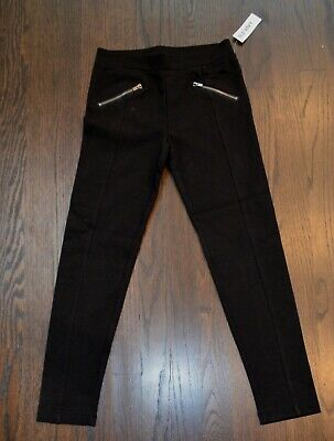 Old Navy girls stretch leggings in black faux zippered pockets in 3 sizes NWT