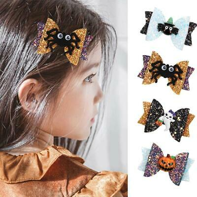 Halloween Sequin Glitter Bow Hair Clips Barrettes Hairgrips for Baby Girls Gifts