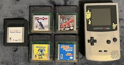 LOT Nintendo Game Boy Color Silver Gold Pikachu Edition GameBoy CGB-001 W/ Games