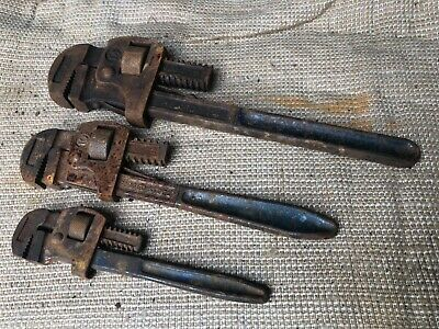 3 used Record adjustable wrench stilsons 14 10 & 8 Inch
