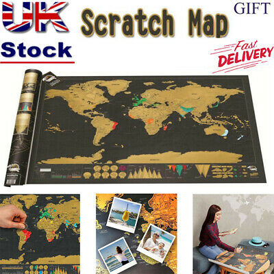 New Scratch Off World Map Deluxe Edition Travel Log Poster Wall Decor Gift UK