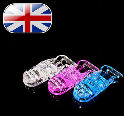 Plastic Dummy Clips 3 Mixed Colours. Pink, Blue & Clear.Multiple Qty's available