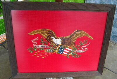 Civil War ? Antique American Eagle Tapestry Needlepoint Textile  Political / Art