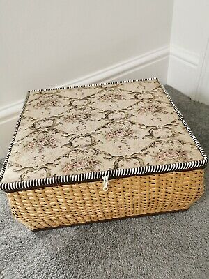Fabulous Vintage Large Wooden Wicker Style Tapestry Lidded Sewing Box