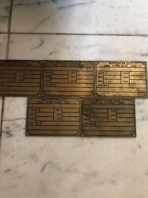 Vintage Brass Name Tag Industrial Nameplate Lot Of 5