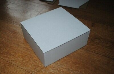 Small cardboard boxes x 10, Die cut folding lid, mottled white, 170 x 162 x 67