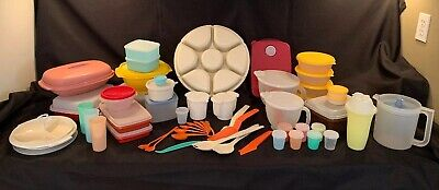 Vintage Lot 90+ Pcs Tupperware Sets W/Lids Utensils Cups Mixing Bowls Pitcher