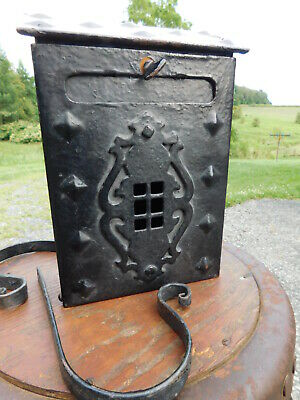 '20s Antique Arts Crafts Gothic Cast Iron Wall Mail Box Drop Door Newspaper Rack