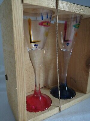 Tommy Persson Sweden Modernist Cubism Cubist Glass Shot Cordial Glasses in Box