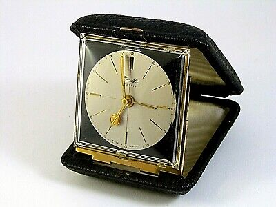 Antique Collectible KIENZLE 7 RUBIS Made in Germany Traveling Alarm Clock Watch