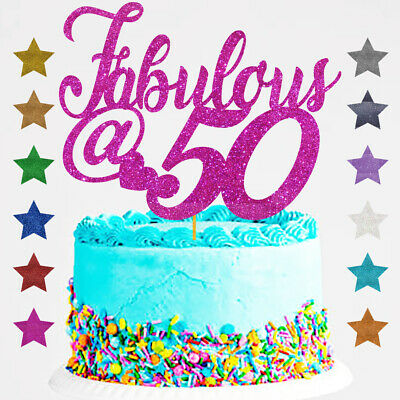Fabulous  at 50 Birthday Glitter Cake Topper Any Age @ fifty 40, 60, 50th