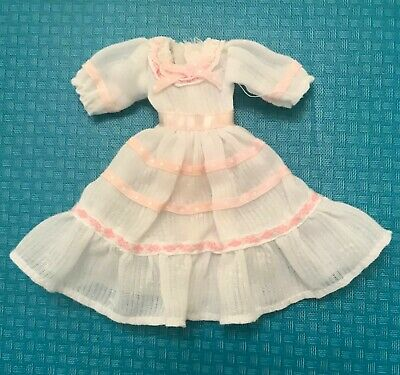 """Vintage Pink & White Doll Dress For 6 """" Tall  Doll No Tags Hook & Loop Fastener"""