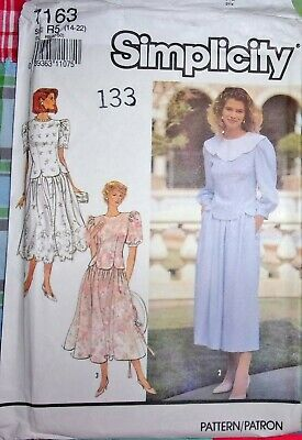 Simplicity 7163 Tulip Hem Peplum Top Full Skirt, 2-Pc Dress Vtg Pattern 14-22 FF