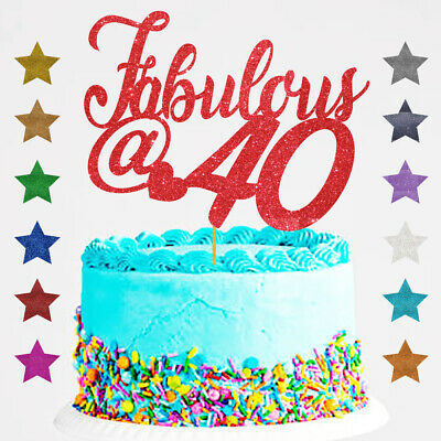 Fabulous  at 40 Birthday Glitter Cake Topper Any Age @ forty 40th, 60, 50