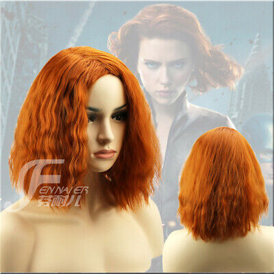 Film Marvel's The Avengers Black Widow Short Curly Hair Cosplay Wigs Luster Role