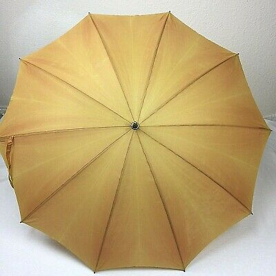 Vintage HJ Umbrella Metal Handle Faded Gold With Cover and Chain Handle