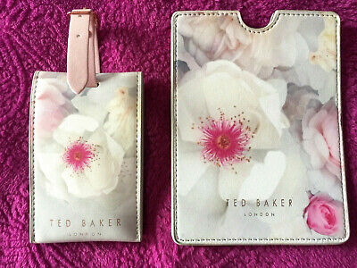 Ted Baker Pink Floral Passport Holder  And Luggage Tag Set Travel Baggage Id ♡♡♡