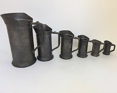6 Antique Tankard Pewter Measures  Liter Marked