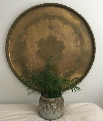 """Very Large 40"""" Diameter Vintage Round Brass Moroccan Tray Table Top Wall Hanging"""