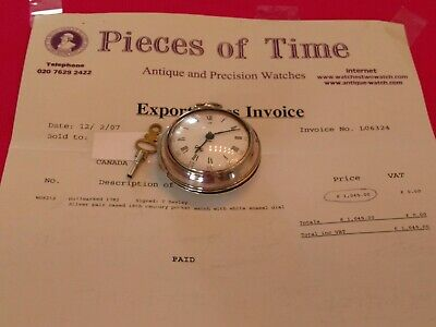 English Verge Fusee Sterling Silver Pair Case Watch Serviced & Original Invoice