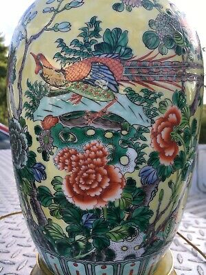 Vintage/Antique Excellent Chinese Famille Rose Vase, Lamp. Very Nice Piece