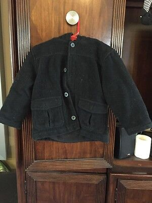 GYMBOREE BOYS BLACK WOOL WINTER COAT JACKET hood SZ 2t-3t EXCELLENT