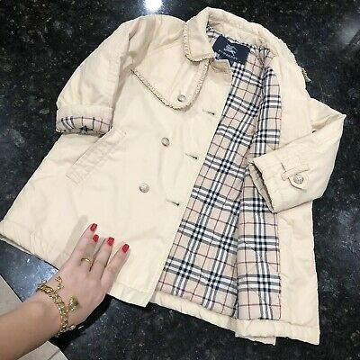 3 Years Authentic Burberry Girl's Trench Coat Jacket Beige Check Winter Toddler