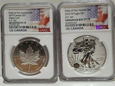 2019 Pride of Two Nations Coin Set U.S. Set NGC PF70 Flags Label