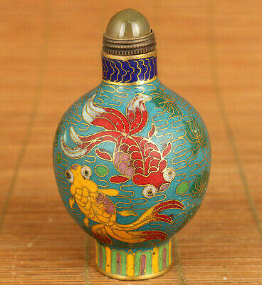 Asian Old cloisonne Hand carving propitious fish statue snuff bottle noble gift