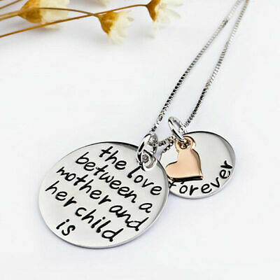 925 Sterling Pendant Necklace Birthday Gift Silver Mother & Child Love Forever