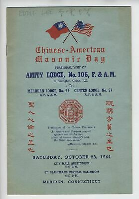 1944 Chinese American Masonic Day Pamphlet With Signatures Meriden, Connecticut