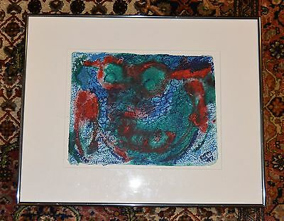 """E.j. Montgomery  African American Artist   Acrylic On Paper 9""""  X 12"""" Framed"""