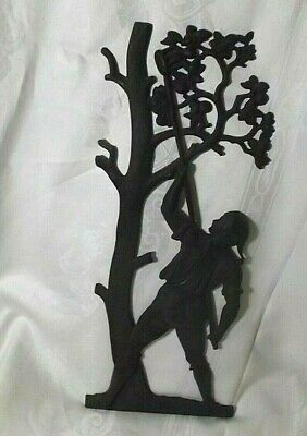 """Vtg Colonial Man Picking Apples from tree Cast Iron Wall Hanging/Plaque 18"""""""