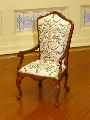 Bespaq Arm Chair with Damask Floral Print Upholstery - Dollhouse Miniature
