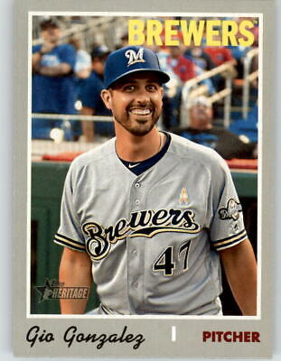 2019 Topps Heritage High Number GIO GONZALEZ Short-Print SP Brewers #709