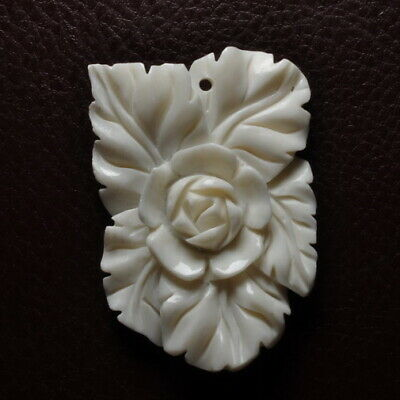 Hand Carved Flower Natural Buffalo Bone Pendant Bead 50X35X6Mm