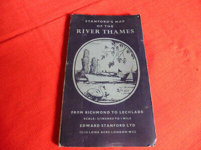 Stanfords Map of The River Thames Pub. 1956