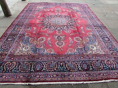 Vintage Traditional Hand Made Rug Oriental Red Blue Wool Carpet 385x292cm