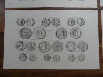 Antique prints - 19th century Victorian era prints of old ancient coins