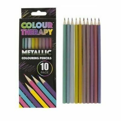 10 Metallic Coloured Pencils Colour Therapy Quality Drawing Sketching Tones Art